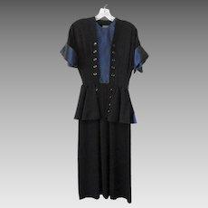 Vintage 1940s Dress Black Blue Rayon Wiggle Peplum Gay Gibson