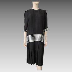 Drop Waist Designer Dress Vintage 1980s St. Gillian Kay Under Neiman Marcus Large