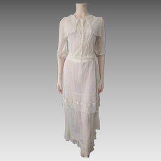 Exquisite Antique Edwardian Dress Fine Net Lace Tea Lawn Bridal Gown