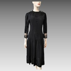 Black Crepe Satin Dress Vintage 1930s Sheer Net Lace Collar Cuffs Beautiful Buttons