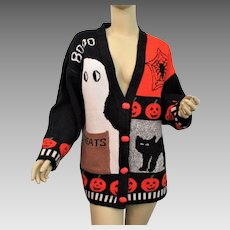 Halloween Campus Cardigan Sweater Vintage 1980s Novelty Holiday Large