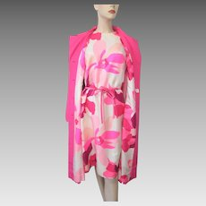 Hot Pink Floral Dress Jacket Mod Suit Vintage 1960s Silk Shantung David Barr Large