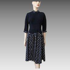 Vintage 1940s Dress Navy Blue White Polka Dot Crepe Fit and Flare