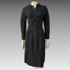 Wiggle Cocktail Shirt Dress Vintage 1940s Black Rayon Bow