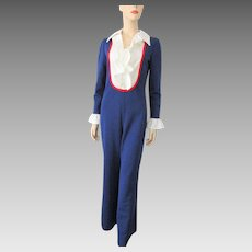 Womens Jumpsuit Vintage 1970s Red White Blue Polyester Tuxedo Ruffles
