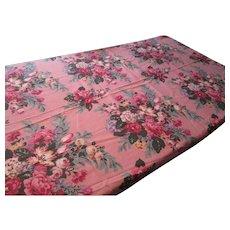 Pink Floral Fabric Yardage Vintage 1940s Cotton Twill Chintz Barkcloth Era Shabby Chic