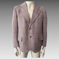 Mens Vintage 1970s Jacket Blazer Sportcoat Designer Paco Rabanne Houndstooth Paris Fashion