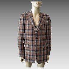 Mens Wool Plaid Jacket Blazer Sportcoat Vintage 1970s Black Brown Grey