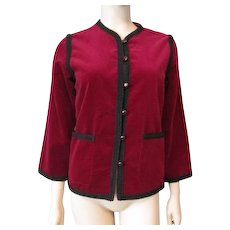 Saks Fifth Avenue Crimson Red Velvet Jacket Vintage 1970s Womens Cardigan