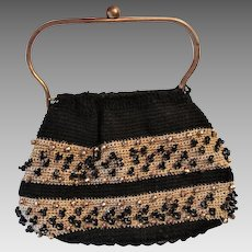 Reticule Purse Handbag Vintage 1950s Black Gold Crocheted Lucite Base
