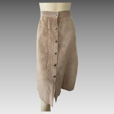Tan Suede Leather Skirt Vintage 1970s Limited Midiskirt Snap Front A Line