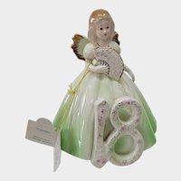 Josef Originals Birthday Girl Figurine Green With Angel Wings