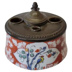 PL Limoges France Hand Painted Ink Well With Metal Top & Insert
