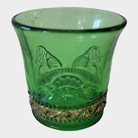 EAPG Green & Gold Colorado Pattern Toothpick Holder