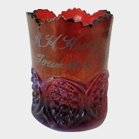 A.H.Heisey  & Co  Founded 1896 Ruby Red Glass Toothpick Holder