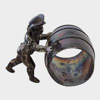 Victorian Figural Silver Plate Napkin Ring Boy Pushing A Barrel Meridian Silver Co
