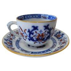 Minton Flow Blue Polychrome Lyre Pattern Cup & Saucer