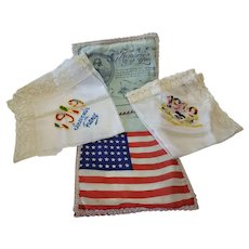 World War I Patriotic Embroidered Handkerchief Hankie Holder