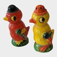Vintage Japan Orange & Red Chick Salt & Pepper Shakers