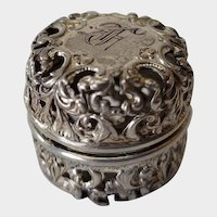 Webster Sterling Silver Filigree Thimble Case