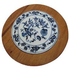 Blue Onion Blue Danube Porcelain & Wood Trivet