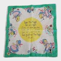 Vintage Little Miss Muffet Hankie Hanky Handkerchief