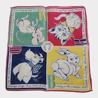 Vintage Tom Lamb Alphabet Handkerchief Hankie