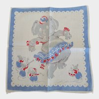 Vintage Tom Lamb Elephant & Mouse Band Hankie Handkerchief