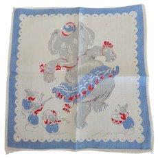 Vintage Tom Lamb Elephant & Mouse Band Hankie Handkerchief