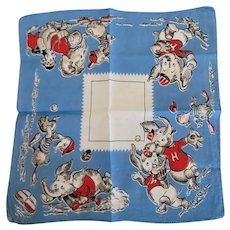 Vintage Tom Lamb Elephants Dogs & Ducks Playing Sports Handkerchief Hankie