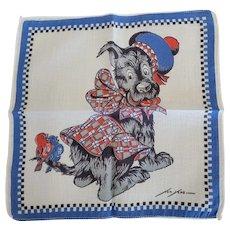 Vintage Tom Lamb Handkerchief Scottie Dog Wearing Plaid #2 Hankie