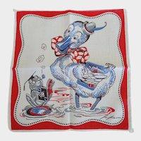 Vintage Tom Lamb Duck & Frog School Hankie Handkerchief