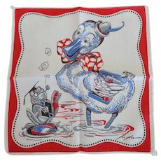 Vintage Tom Lamb Duck & Frog School Hankie Handkerchief