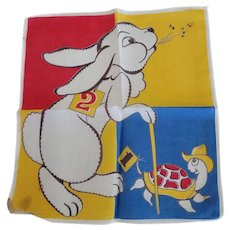 Vintage Tom Lamb Tortoise And The Hare Handkerchief Hankie