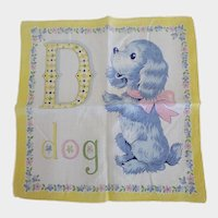 Vintage D is for Dog Alphabet Hankie Handkerchief