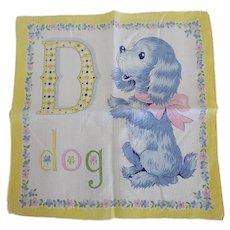 Vintage D is for Dog Alphabet Hankie Handkerchief