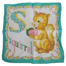Vintage S is for Squirrel Hankie Handkerchief