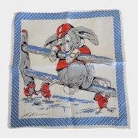 Vintage Tom Lamb Baseball Rabbit With Chicks Hankie Handkerchief