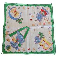 Vintage Children's Alphabet Hankie Handkerchief