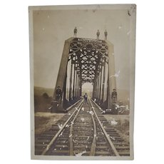 Early 1900's RPPC Men Standing On A Railroad Bridge Postcard Trains RR