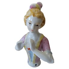 Porcelain Half Doll Figurine Blonde Hair