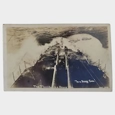 RPPC US Navy Military The USS Florida In A Heavy Sea Postcard Battleship