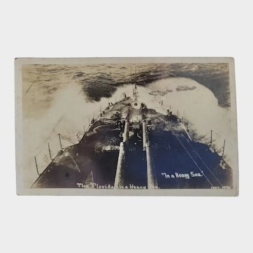 RPPC US Navy Military The USS Florida In A Heavy Sea Postcard Battleship