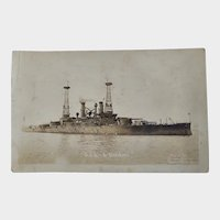 RPPC US Navy Military USS South Carolina Battleship Postcard