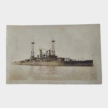 RPPC US Navy Military USS South Carolina Battleship Postcard