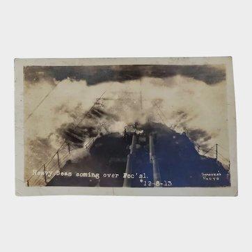 RPPC US Navy Military Heavy Seas Coming Over Foc'sl 1913 Postcard Battleship