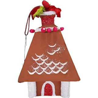 Paper Mache Gingerbread House Vintage Christmas Ornament Made in Japan