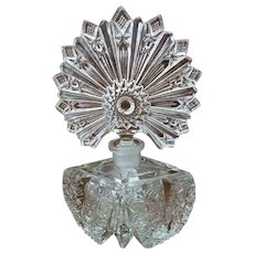 Vintage Cut Glass Perfume Bottle With Large Fan Style Stopper