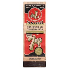Drink 7Up For The Stomach's Sake Vintage Advertising Matchbook Cover