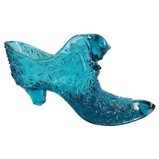Turquoise Blue Fenton Glass Cat Head Glass Shoe